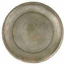 Decorative plate wood champagne Ø44cm