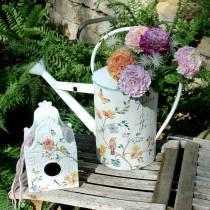 Decorative bird house with flowers metal white 25.5c × 16 × 13.5cm
