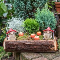 Deco elf ceramic mushroom hat table decoration red, white H10.5cm 3pcs