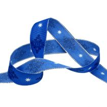 Deco ribbon blue with pattern 25mm 20m