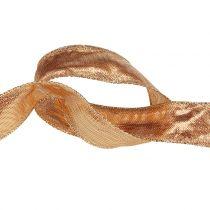 Decorative ribbon gold with wire edge 25m