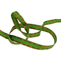 Deco ribbon green with wire edge 15mm 15m
