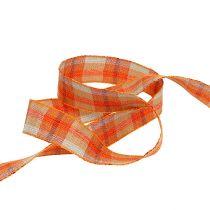 Deco ribbon check pattern orange 25mm 20m