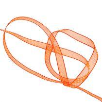 Deco ribbon orange with dots 7mm 20m