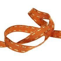 Decorative ribbon orange with wire edge 15mm 15m