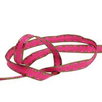 Decorative ribbon pink with wire edge 15mm 15m