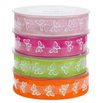 Deco ribbon with butterfly motif 25mm 20m