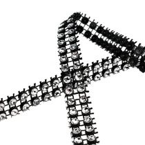 Deco ribbon black, silver 10mm 4m