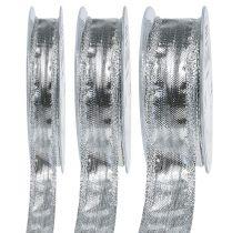 Decorative ribbon silver with wire edge 25m