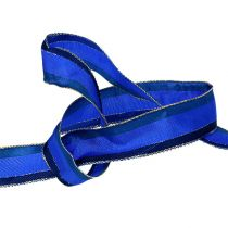 Decorative ribbon with wire edge blue 25mm 20m