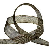 Deco ribbon with lurex stripes black 25mm 20m