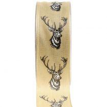Deco ribbon nature with deer motif 40mm 20m