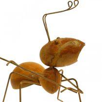 Deco figure ant metal butterfly net garden decoration rust 19cm