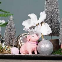 Decorative figure pig with crown 9cm 2pcs