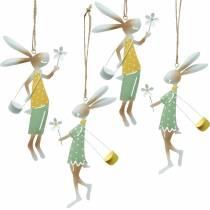 Decorative figures, pair of bunnies, metal decoration, Easter bunnies to hang up, spring decoration 4pcs