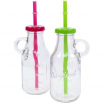 Decorative bottles with lids and straws H14.5cm