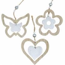 Decoration hanger heart flower butterfly nature, silver wood decoration 6pcs
