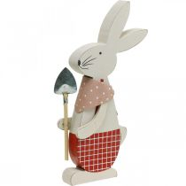Decorative bunny with shovel, bunny boy, Easter decoration, wooden bunny, Easter bunny