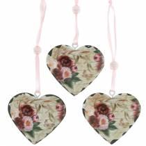Decorative heart peonies nostalgic metal heart to hang 6pcs