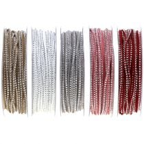 Decorative cord leather cord with rivets 3mm 15m