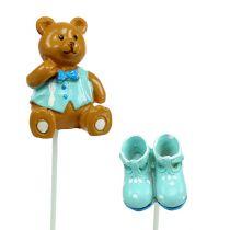 Decorative plug bear, shoe blue 1.5-4cm 16pcs