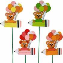 Decoration plug pen with teddy bear and balloons flower plug summer decoration children 16pcs