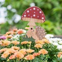 Decorative plug, autumnal wood decoration, hedgehog with mushroom H11cm L34cm 12pcs