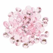 Decorative stones diamond acrylic light pink Ø1.2cm 175g for birthday decoration