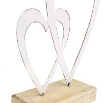 Double heart white at the foot H18cm
