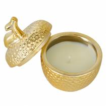 """Scented candle """"Spiced Apple"""" in apple jewelry box gold Ø7.2cm H8.5cm"""