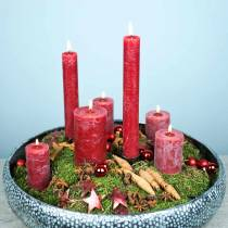 Solid colored candles, dark red, different sizes