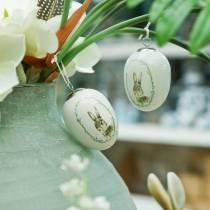 Egg to hang ceramic white rabbit Ø5.5cm H7.6cm 12pcs