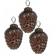 Acorn glass brown decorative cones for hanging Advent decoration 5.5 × 8cm 12pcs