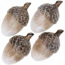 Decorative acorns covered with snow, ceramic decorations, Advent, winter autumn decorations L9.5 4pcs