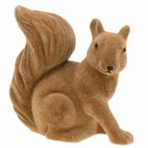 Decorative squirrel flocked brown H20cm 2pcs