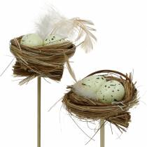 Decorative plug bird's nest, Easter decoration, nest with eggs 23cm 6pcs