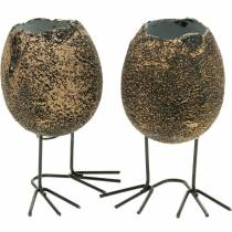 Eggshell for planting with legs, Easter egg, egg with bird's feet, Easter decoration black golden 4pcs