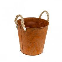 Decorative pot with handles, autumn decoration, metal vessel with patina Ø22cm H21cm