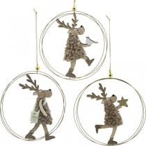 Reindeer to hang, Christmas pendant, Advent decoration in a ring Ø15cm, set of 3