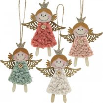 Angels to hang, Christmas decorations, Christmas tree decorations pink / pink / blue / white H12cm set of 4