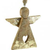 Deco angel mango wood deco figure to hang 13 × H13.5cm 2pcs