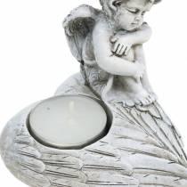 Grave decoration tealight holder angel 10cm 2pcs