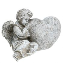 Angel with heart gray 11.5cm × 9cm × 6.5cm 2pcs
