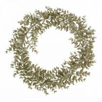 Decorative wreath artificial eucalyptus golden, snow-covered Ø36cm