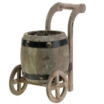 Wooden barrel on stand for planting H24.5cm