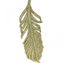 Decorative feathers, tree decorations with glitter, advent decorations, feathers for hanging golden L22cm 12pcs