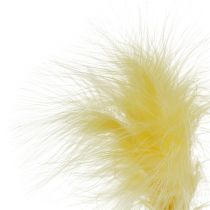 Feather on the rod L 30cm yellow 12pcs