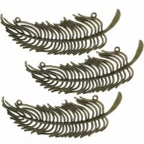 Decorative feathers, jewelry pendants, feathers made of metal, scattered bronze colors L8cm 10pcs
