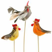 Rooster with real feathers on the stick Orange, Yellow, Brown Assorted H5-6cm 12pcs