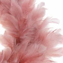 Decorative feather wreath large dusky pink Easter decoration Ø40cm